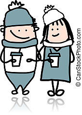 Couple walking with coffee cups, cartoon for your design