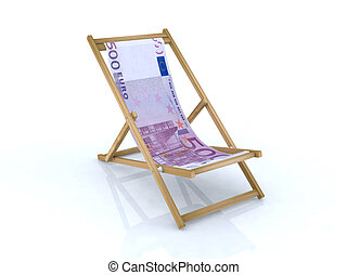 wood desk chair with 500 euro banknote 3d illustration