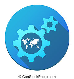 Gears with a world map