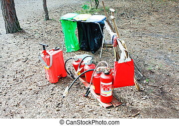 fire fighting - A set of fire fighting at a summer camp in...