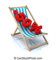 beach chair with -50 number, 3d illustration