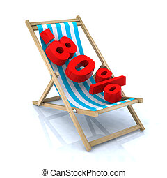 beach chair with -80 number, 3d illustration