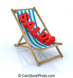 beach chair with saldi written 3d illustration