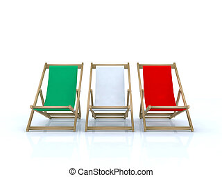 wood desk chairs italian flag 3d illustration
