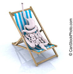 intestines and stomach tired they rest on beach chair, 3d...