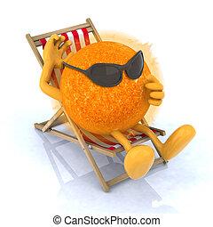 sun with sunglasses lying on beach chair - the sun with...