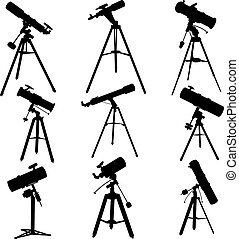 Vector silhouettes of telescopes - Set vector silhouettes of...