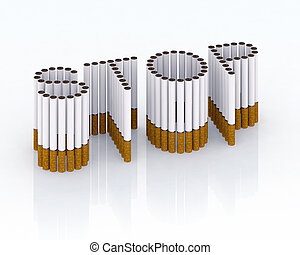 Written stop with cigarettes 3d illustration, please stop...