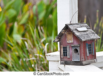 Birdhouse - Country folk style bird house on front porch...