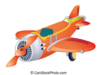 airplane - red cartoon airplane isolated over white...
