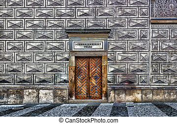 Schwarzenberg palace - black-and-white sgraffito decorations...
