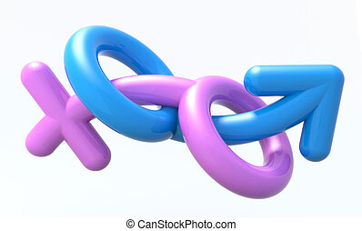sexual symbols man and woman making love, 3d illustration