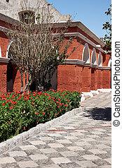 Monasterio de Santa Catalina - Red painted walls of the...