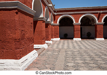 Monasterio de Santa Catalina - Red painted walls of the...