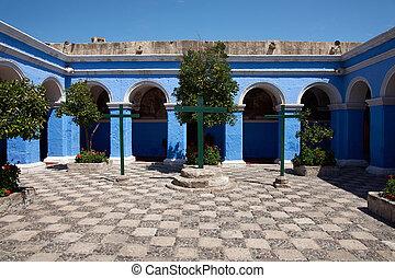 Monasterio de Santa Catalina - Blue painted walls of the...