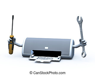 inkjet printer with arms and tools on hands, 3d illustration