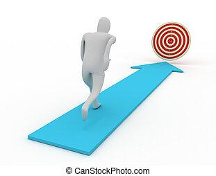 3d man run to target