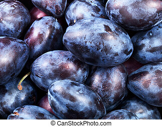 healthy plums - Background of fresh ripe healthy plums for...
