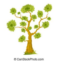Cartoon Bonsai Tree - One big cartoon bonsai tree with green...