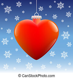 Christmas Ball Heart Snow - Heart shaped christmas ball...