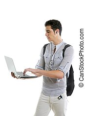 Male young student homework with laptop