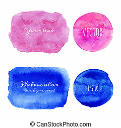 Wet Watercolor Backgrounds Hand Painted Vector isolated...
