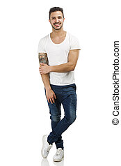 Smiling guy posing - Beautiful latin man smiling, isolated...