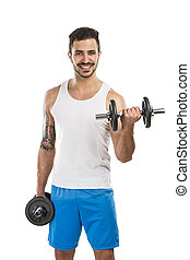 Athletic man lifting weights - Portrait of a muscular man...