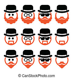 Man in hat with ginger beard icons - Senior, gentleman with...