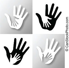 Set of Caring hands. - Set of Caring hands, vector...