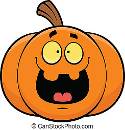 Cartoon Jack-o-Lantern Happy - Cartoon illustration of a...