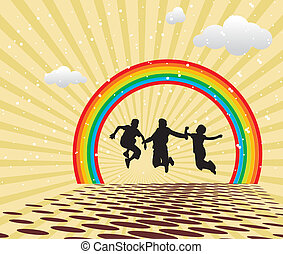 Children Jumping against multi colored backgrounds and...