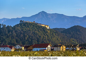 Rasnov fortress and Bucegi mountains, Romania - Autumnal...