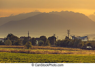 Rural landscape at sunset - Autumn rural landscape with...