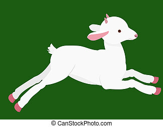 cartoon goat - goat kid with small horns jumping on green...