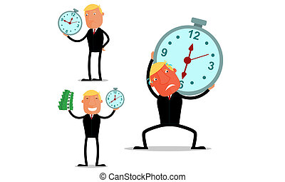 Businessman in time work - Businessman on dead line time at...