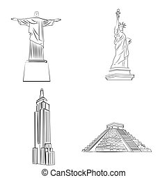 famous places - a set of sketches of famous places around...