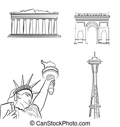famous places - a set of sketches of famous places