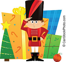 Nutcracker and Presents - Cute nutcracker is guarding a pile...