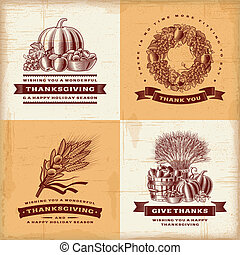 Vintage Thanksgiving labels set - A set of fully editable...