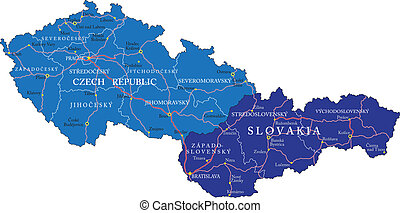 Czech Republic and Slovakia map - Highly detailed vector map...
