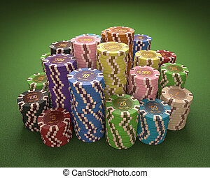 Casino Chips - Colorful chips on a green table Concept of...