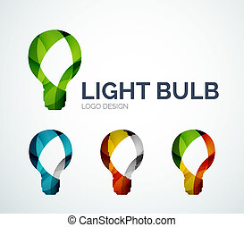 Light bulb logo design made of color pieces - Abstract light...
