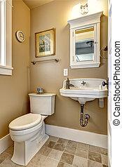 simple, couleur, salle bains, intérieur,  beige