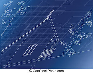Architectural background cottage, vector