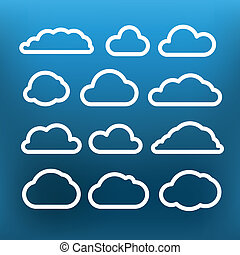 White cloud icons clip-art on color background. Design...