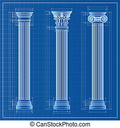 Classic columns blueprint sketch, vector