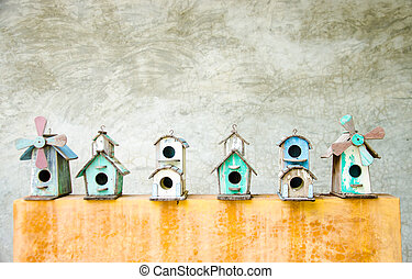 Bird house - colorful of bird house on cement ground
