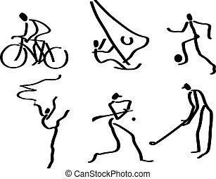 Sports Symbols - People making sports sketched with an...