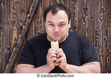 man eating a hot dog - brutal man eating a hot dog